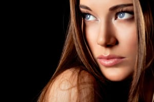 Portrait of beautiful woman with blue eyes